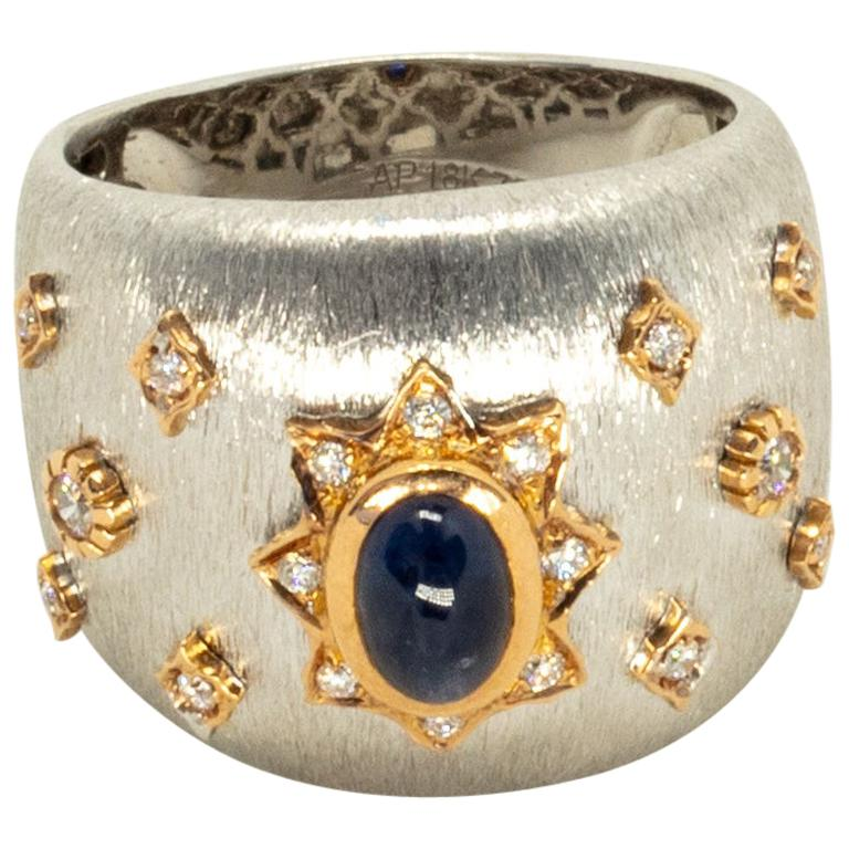 Blue Sapphire 18k White Rose Gold Diamonds Cocktail Ring in Florentine Finish For Sale