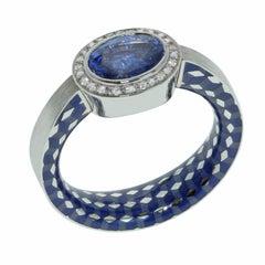 Blue Sapphire 1.91 Carat Diamonds Enamel 18 Karat White Gold Kaleidoscope Ring