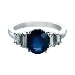 Blue Sapphire 1.93 Carats & 0.43 Carat Diamond Cocktail Ring