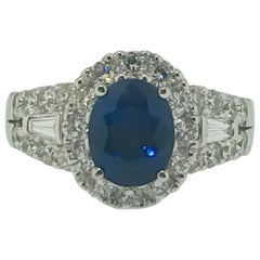 3.00 Blue Sapphire with Diamond Halo 18 Karat Engagement Ring, 2.00 ct Sapphire