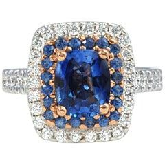Blue Sapphire 2.14 Carat, Blue Sapphire, Diamond Ring in 18 Karat Gold