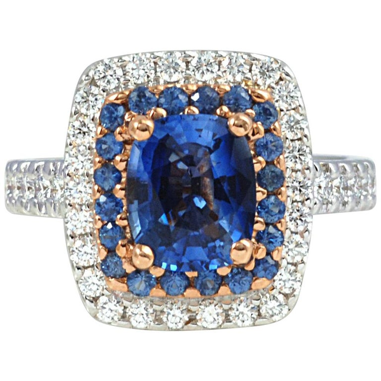 Blue Sapphire 2.14 Carat, Blue Sapphire, Diamond Ring in 18 Karat Gold For Sale