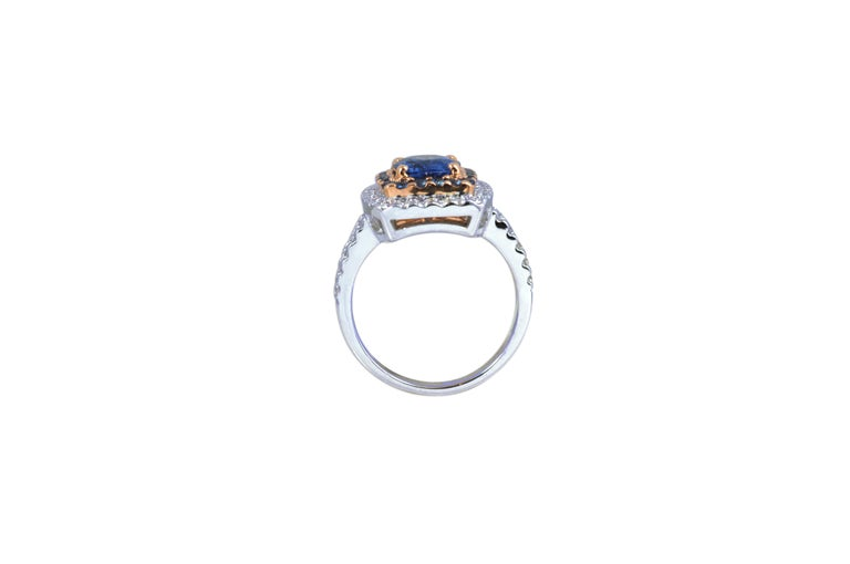 Oval Cut Blue Sapphire 2.14 Carat, Blue Sapphire, Diamond Ring in 18 Karat Gold For Sale