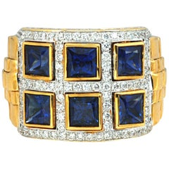 Blue Sapphire 2.67 Carat with Diamond 0.72 Carat Ring in 18 Karat Gold Settings