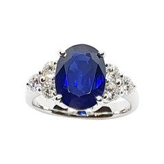 Blue Sapphire 4 Carat with Diamond Ring Set in 18 Karat White Gold Settings