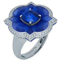 Blue Sapphire 4.04 Carat Diamonds Enamel 18 Karat White Gold Cocktail Ring