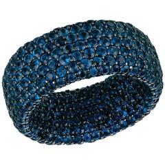 Blue Sapphire 9.35 Carat Inside/Outside 5-Row Ring, Black Rhodium 18 Karat Gold