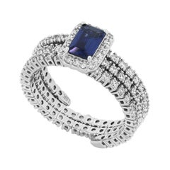 Blue Sapphire Adjustable Ring in 18 Karat White Gold with Diamond