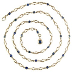 Blue Sapphire and 18 Karat Gold Marquis Chain Necklace