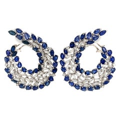 Blue Sapphire and Baguette Diamond C-Shape Earrings