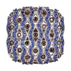 Blue Sapphire and Black Diamond Ring in 14 Karat White Gold