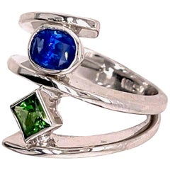 Blue Sapphire and Chrome Tourmaline Gold Ring