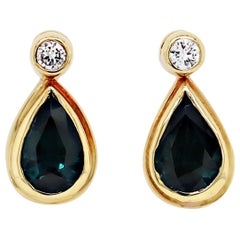 Blue Sapphire and Diamond 18 Carat Yellow Gold Drop Earrings