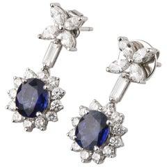 Blue Sapphire and Diamond 18 Karat White Gold Drop Dangle Flower Earrings