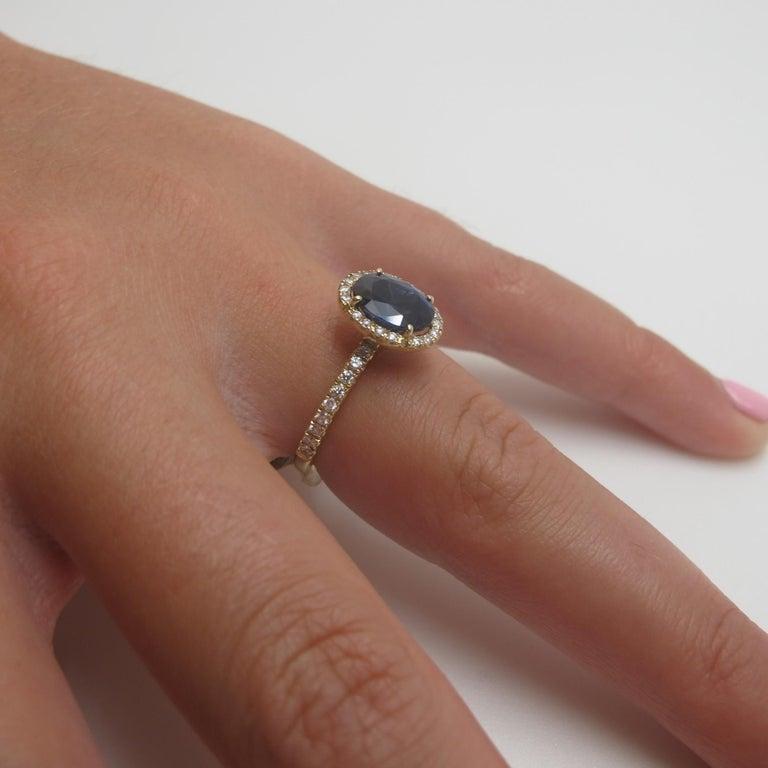 Artisan 2.16 Carat Blue Sapphire and Diamond 18 Karat Yellow Gold