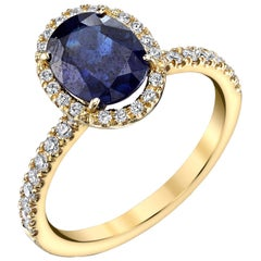 "2.16 Carat Blue Sapphire and Diamond 18 Karat Yellow Gold ""Halo""  Ring"