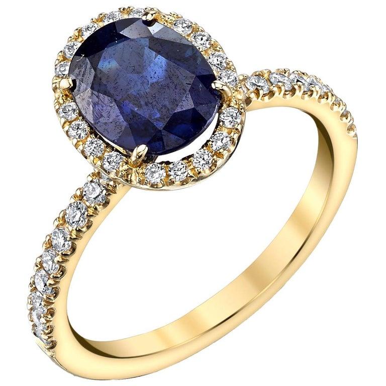 "2.16 Carat Blue Sapphire and Diamond 18 Karat Yellow Gold ""Halo""  Ring For Sale"