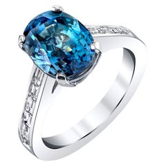 Blue Sapphire and Diamond Baguette Ring 18k White Gold