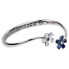 Blue Sapphire and Diamond Bangle Bracelet White Gold