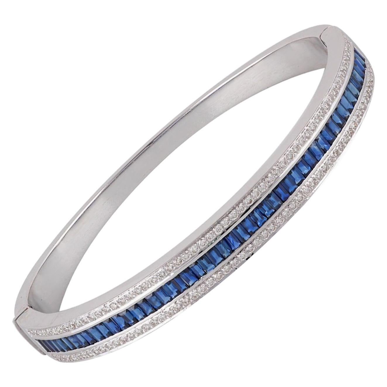 Blue Sapphire and Diamond Bangle Studded in 18 Karat White Gold
