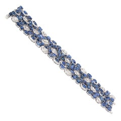 Blue Sapphire and Diamond Bracelet in 18 Karat White Gold