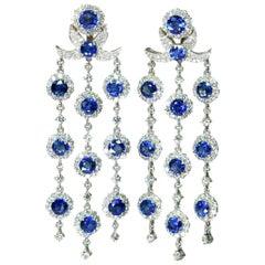 Blue Sapphire and Diamond Chandelier Earrings