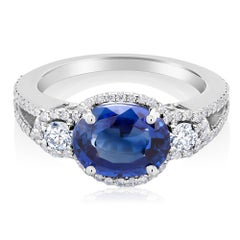 Blue Sapphire and Diamond Cluster Cocktail Ring Weighing 4.10 Carat