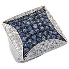 Blue Sapphire and Diamond Cocktail Ring