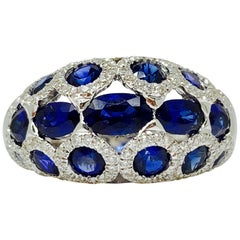 Blue Sapphire and Diamond Cocktail Ring in 18 Karat White Gold.
