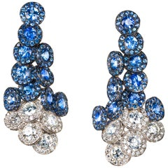 Blue Sapphire and Diamond Contemporary Drop Earrings in White Gold