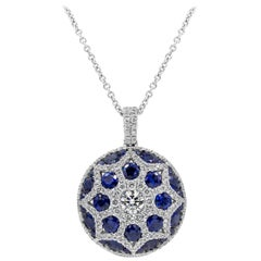 Roman Malakov Blue Sapphire and Diamond Convex Circle Pendant Necklace