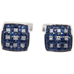 Blue Sapphire and Diamond Cufflinks