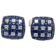 Blue Sapphire and Diamond Cufflinks