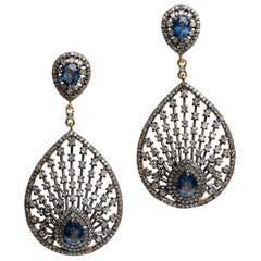 Blue Sapphire and Diamond Dangle Drop Earrings