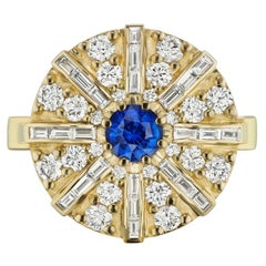 Blue Sapphire and Diamond Dome Ring