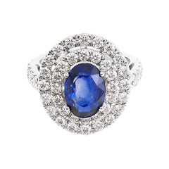 Blue Sapphire and Diamond Double Halo Cocktail Engagement Ring GIA Certified
