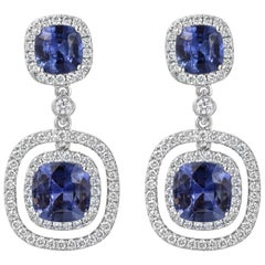 Blue Sapphire and Diamond Double Halo Dangle Earrings