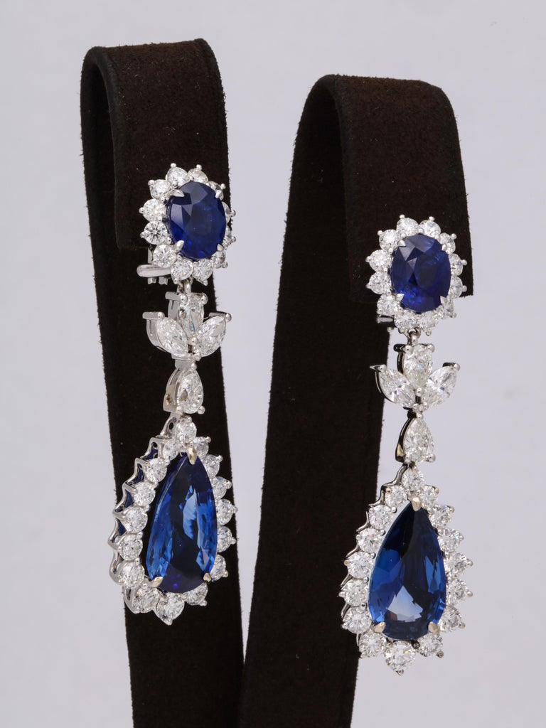 Blue Sapphire and Diamond Drop Earrings In New Condition For Sale In New York, NY
