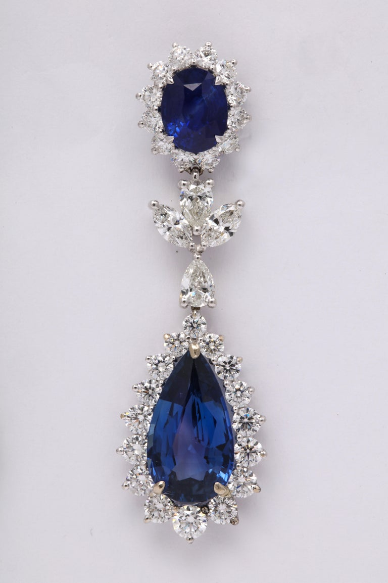 Blue Sapphire and Diamond Drop Earrings For Sale 1