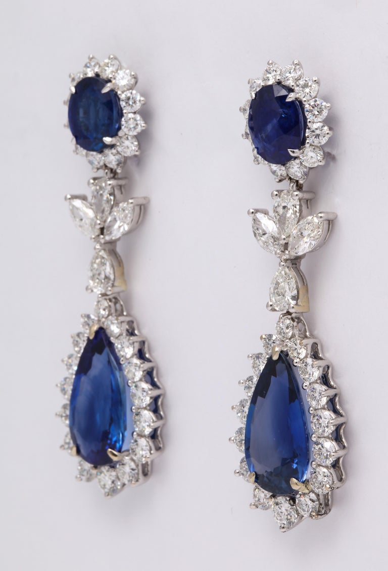 Blue Sapphire and Diamond Drop Earrings For Sale 2