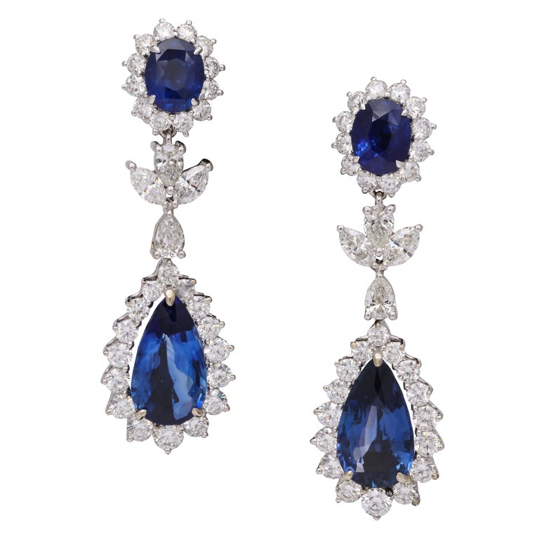 Blue Sapphire and Diamond Drop Earrings For Sale