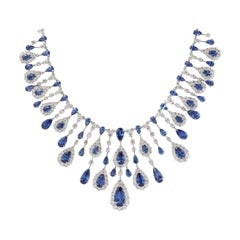 Blue Sapphire and Diamond Drop Necklace