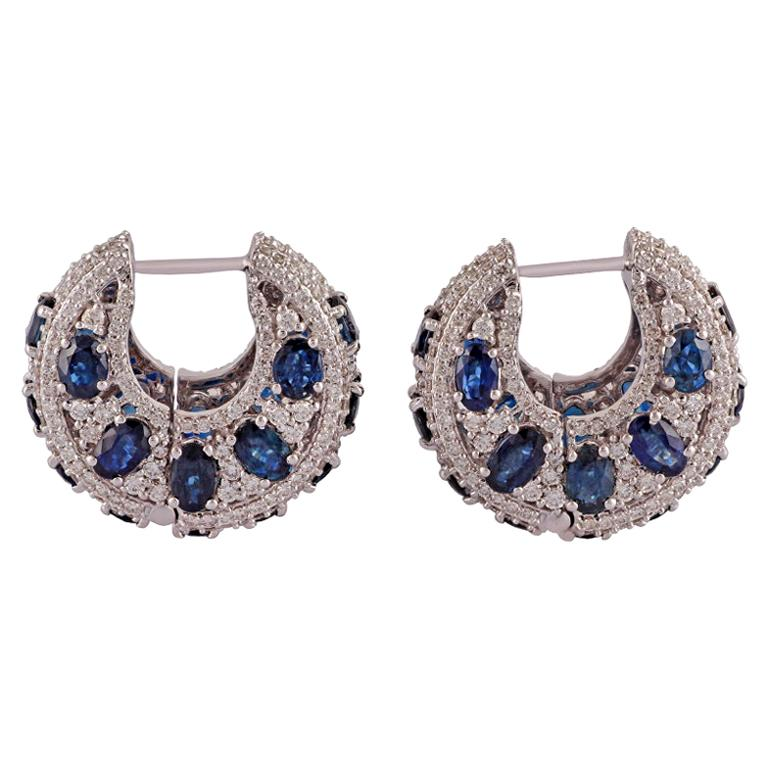 Blue Sapphire and Diamond Earring Studded in 18 Karat White Gold