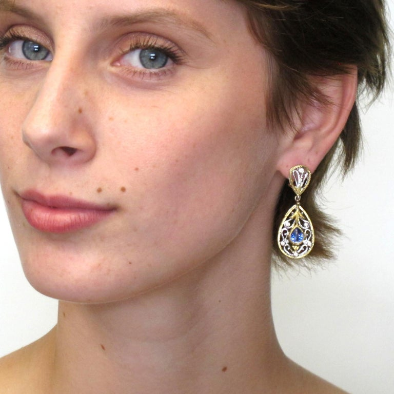 Artisan Blue Sapphire and Diamond Earrings, 18k Yellow and White Gold For Sale