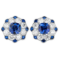 Blue Sapphire and Diamond Earrings, 2.54 Carat