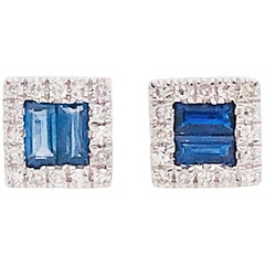 Blue Sapphire and Diamond Earrings, Square Sapphire Studs with Diamond Halo