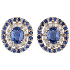 Blue Sapphire and Diamond Earrings Studded in 18 Karat White Gold