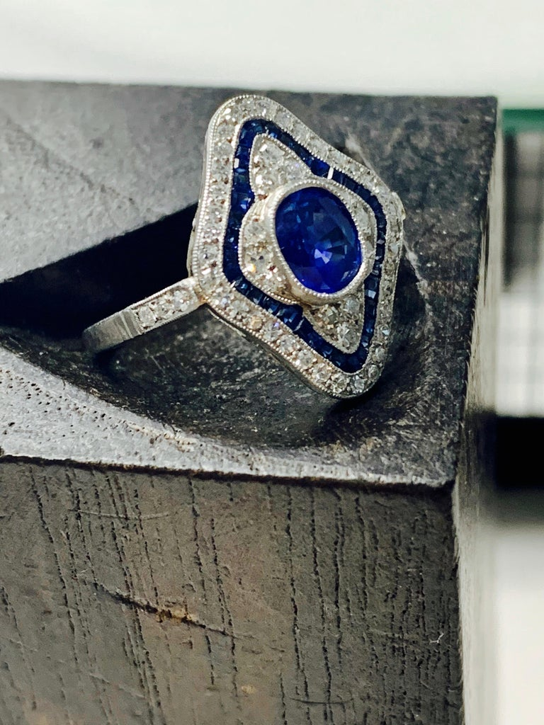 Blue Sapphire and Diamond Engagement Ring in Platinum For Sale 5