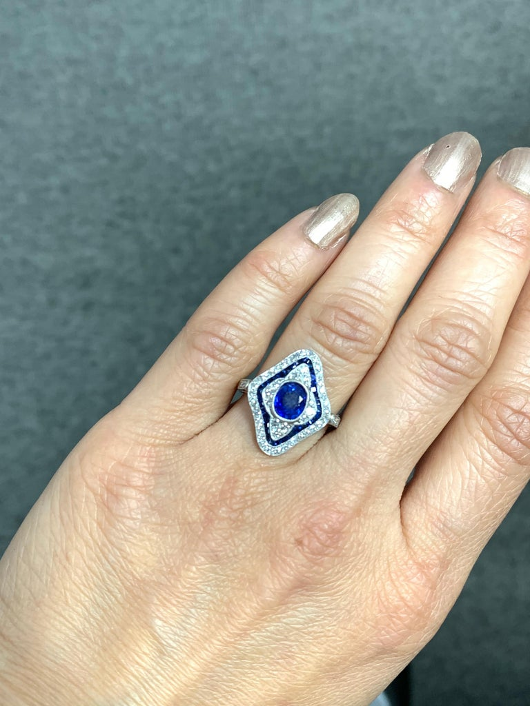 Blue Sapphire and Diamond Engagement Ring in Platinum For Sale 8
