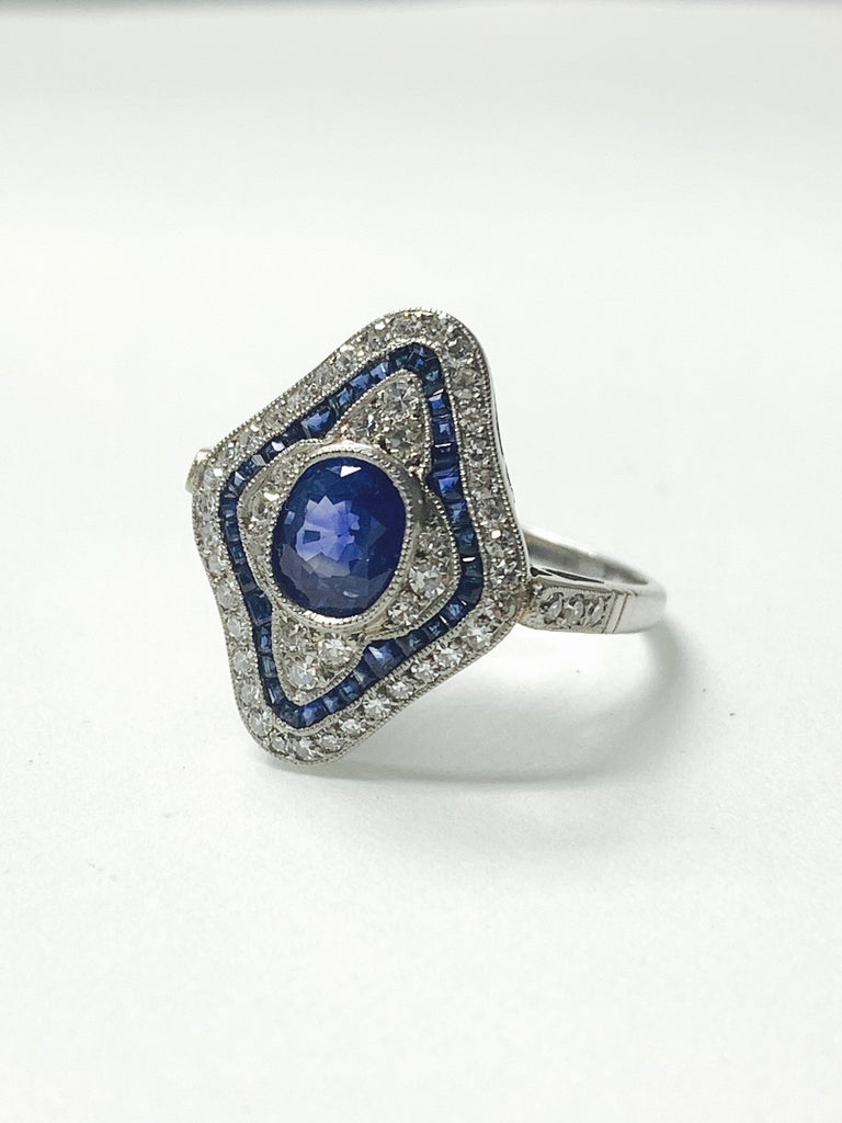 Cushion Cut Blue Sapphire and Diamond Engagement Ring in Platinum For Sale